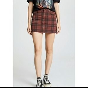 R13 high rise mini skirt plaid red distressed 29